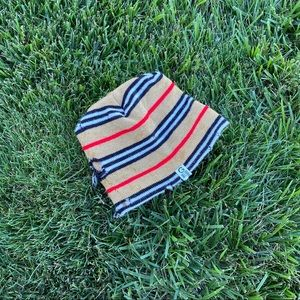 Distressed beanie toque striped hat thrashed